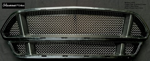 Ford Mustang S550 (2015-2017) Upper and Lower 3-Chamber Version RaceMesh Grilles SET - STOUT Style Weave